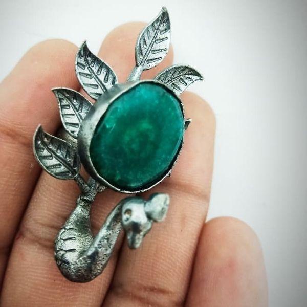 Semi precious stone and brass metal handmade Finger Ring
