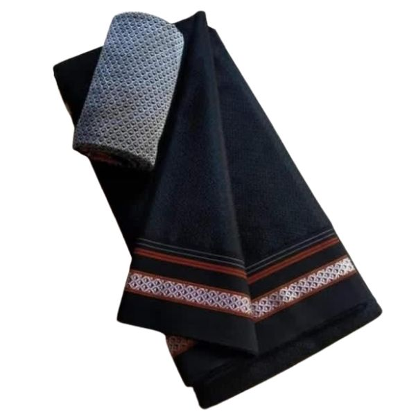 Sankrant Special Black Cotton Saree with Attached Blouse