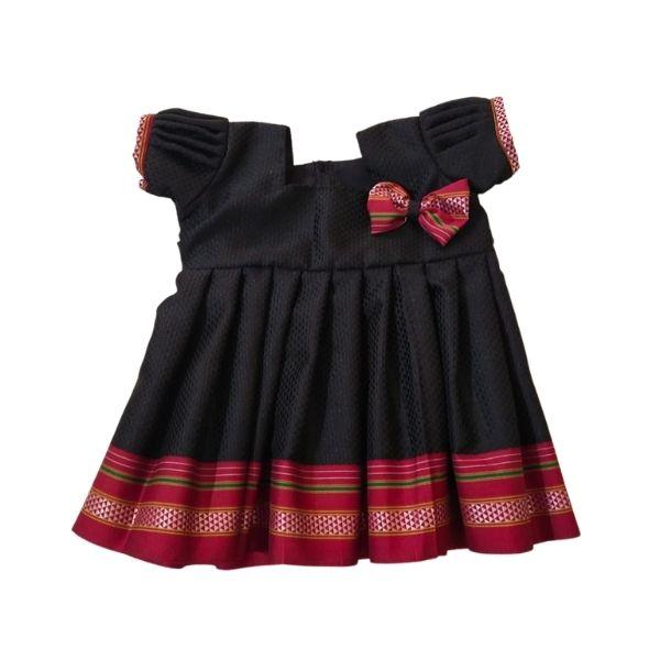 Traditional Irkal Frocks for Girls in Black Pattern003