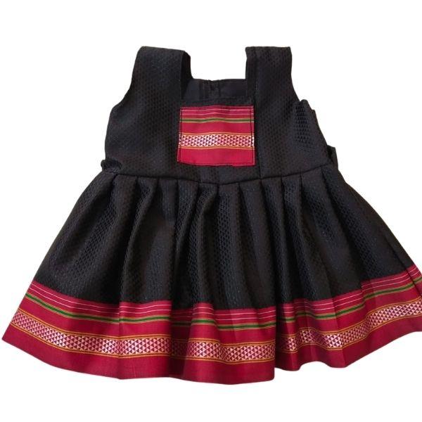 Traditional Irkal Frocks for Girls in Black Pattern004