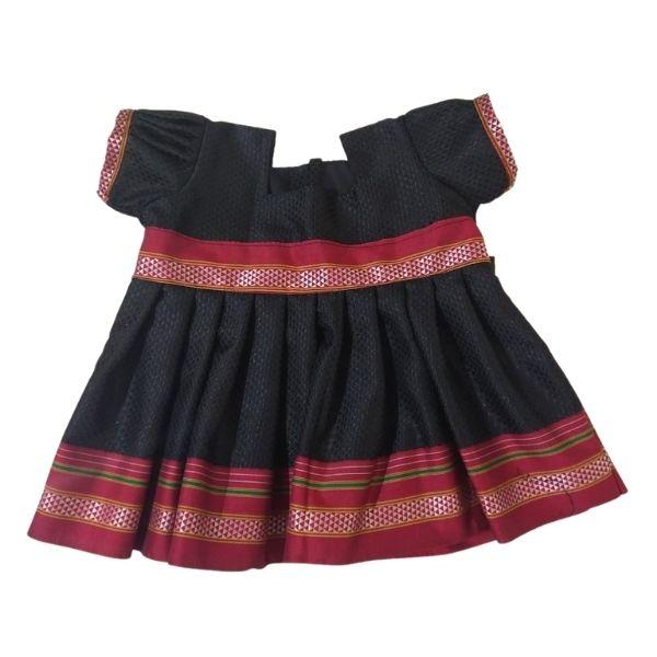 Traditional Irkal Frocks for Girls in Black Pattern005