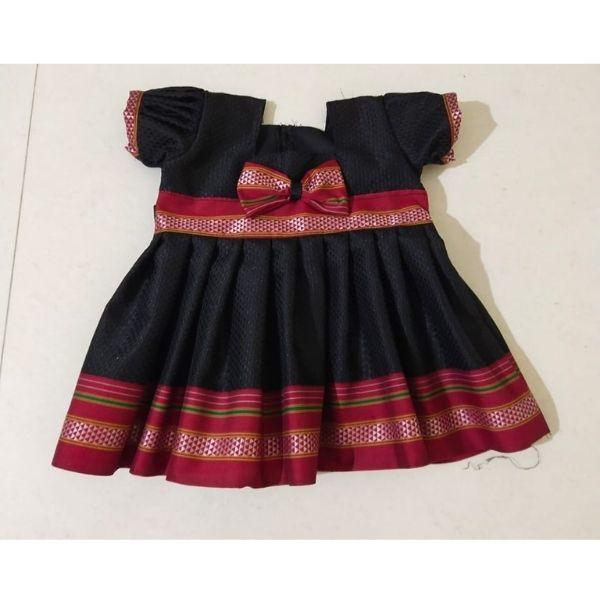 Traditional Irkal Frocks for Girls in Black Pattern007