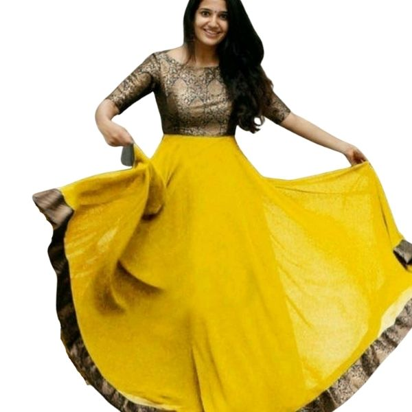 Georgette Party wear Gown_Size-Medium_Available in 7 Color
