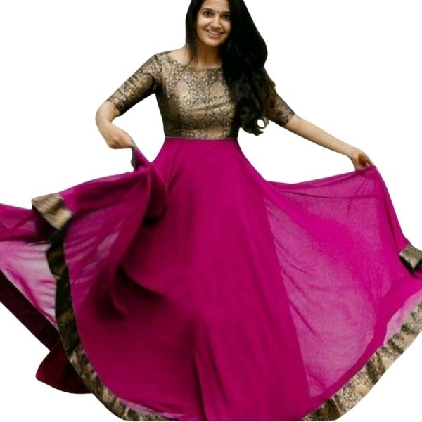 Georgette Party wear Gown_large-size_Available in 7 Color